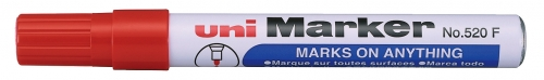 Μαρκαδόρος UNI-MARKER ανεξίτηλος κοκκινο Ν.520 F στρογγυλη μυτη